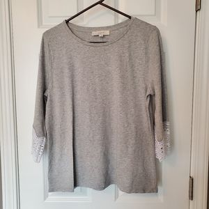 Loft NWT Grey Top With Lace Sleeve Detail (L)